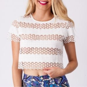 ANTHROPOLOGIE White Laser Cut Lace Crop Top Blouse